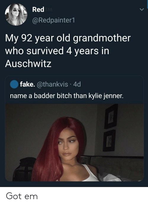 Name A: Red TM  @Redpainter1  My 92 year old grandmother  who survived 4 years in  Auschwitz  fake. @thankvis 4d  name a badder bitch than kylie jenner. Got em
