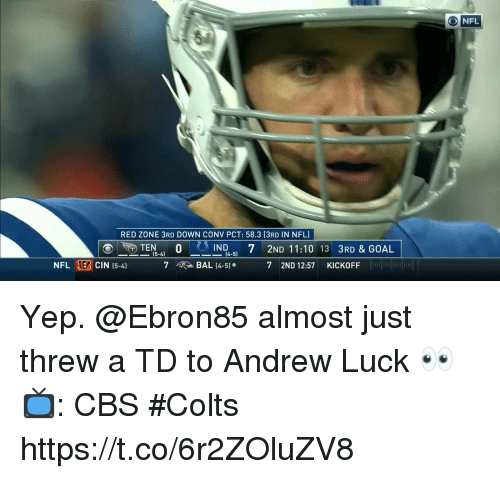 Andrew Luck, Indianapolis Colts, and Memes: RED ZONE 3RD DOWN CONV PCT: 58.3 (3RD IN NFL)  IND 7 2ND 11:10 13 3RD & GOAL  ー15-4  [4-5]  NFL EB CIN 15-4)  7  > BAL 14-5).  7 2ND 12:57 KICKOFF  1 Yep. @Ebron85 almost just threw a TD to Andrew Luck 👀  📺: CBS #Colts https://t.co/6r2ZOluZV8