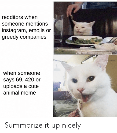 Greedy: redditors when  someone mentions  instagram, emojis or  greedy companies  u/mixodes  when someone  says 69, 420 or  uploads a cute  animal meme Summarize it up nicely