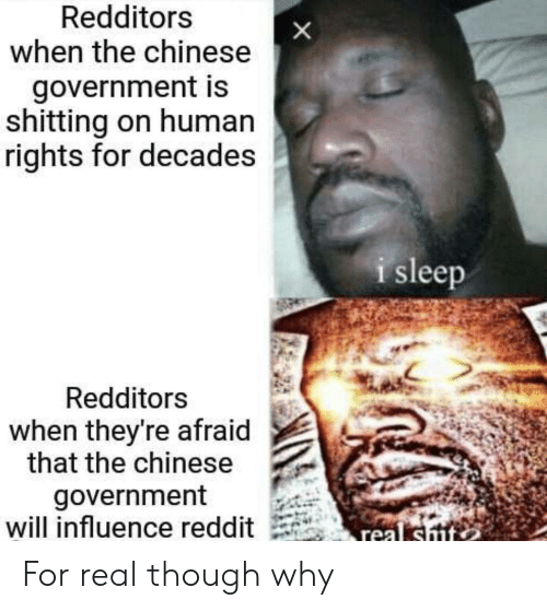 Reddit, Chinese, and Government: Redditors  when the chinese  government is  shitting on human  rights for decades  i sleep  Redditors  when they're afraid  that the chinese  government  will influence reddit For real though why