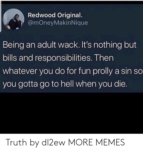 Being an adult: Redwood Original  f @mOneyMakinNique  Being an adult wack. It's nothing but  bills and responsibilities. Then  whatever you do for fun prolly a sin so  you gotta go to hell when you die. Truth by dl2ew MORE MEMES
