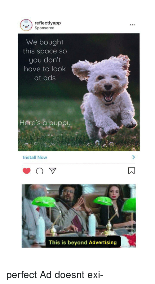 Puppy, Space, and Beyond: reflectlyapp  Sponsored  We bought  this space so  you don't  have to look  at ads  Here's a puppy,  Install Now  This is beyond Advertising perfect Ad doesnt exi-