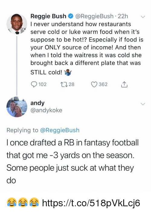 Fantasy football: Reggie Bush @ReggieBush 22h  I never understand how restaurants  serve cold or luke warm food when it's  suppose to be hot!? Especially if food is  your ONLY source of income! And then  when I told the waitress it was cold she  brought back a different plate that was  STILL cold!  0102 t 28 362  andy  @andykoke  Replying to @ReggieBush  l once drafted a RB in fantasy football  that got me -3 yards on the season.  Some people just suck at what they  do 😂😂😂 https://t.co/518pVkLcj6