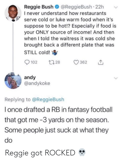 Fantasy football: Reggie Bush @ReggieBush 22h  I never understand how restaurants  serve cold or luke warm food when it's  suppose to be hot!? Especially if food is  your ONLY source of income! And then  when I told the waitress it was cold she  brought back a different plate that was  STILL cold!  t 28  102  362  andy  @andykoke  Replying to @ReggieBush  Ionce drafted a RB in fantasy football  that got me -3 yards on the season  Some people just suck at what they  do Reggie got ROCKED 💀