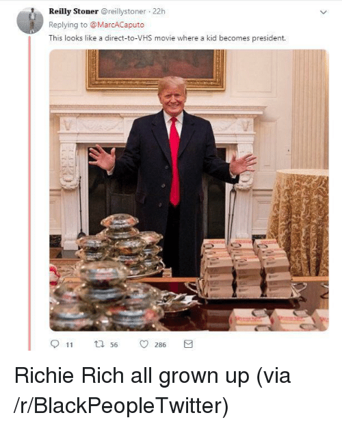 Blackpeopletwitter, Movie, and Vhs: Reilly Stonerreillystoner 22h  Replying to @MarcACaputo  This looks like a direct-to-VHS movie where a kid becomes president.  11  56  0286 Richie Rich all grown up (via /r/BlackPeopleTwitter)