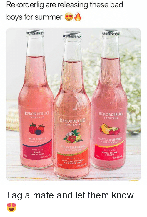 cider: Rekorderlig are releasing these bad  boys for summer  REKORDERLICG  REKORDERLIG  COCKTAILS  COCKTAILS  REKORDERLIG  COCKTAILS  WILD BERRIES  CIDER COCKT  MANGO-RASPBERRY  CİDER COCKTAIL  STRAWBERRY-LIME  COCKTAI  RUM &  DARK BERRIES  & LEMON  MIXEO WITH  DKA, ELDERFLOWER  A HINT OF MINT Tag a mate and let them know 😍