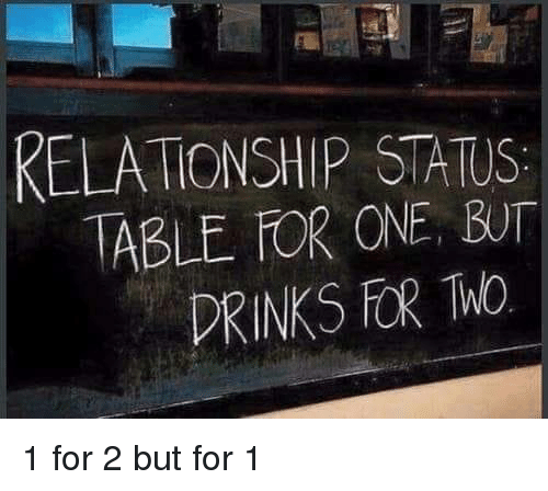 Relationship Status: RELATIONSHIP STATUS  ABLE FOR ONE, BUT  DRINKS FOR Mo 1 for 2 but for 1