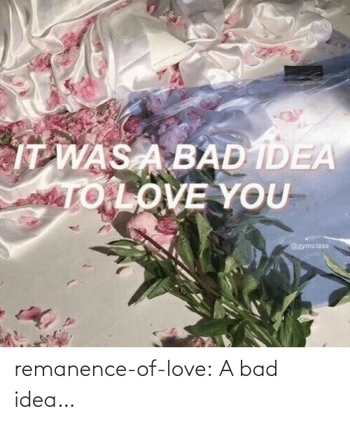 idea: remanence-of-love:  A bad idea…
