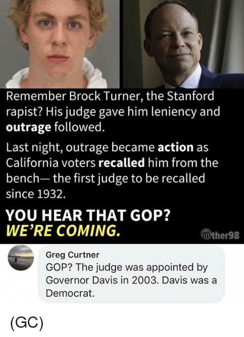 Memes, Brock, and California: Remember Brock Turner, the Stanford  rapist? His judge gave him leniency and  outrage followed.  Last night, outrage became action as  California voters recalled him from the  bench- the first judge to be recalled  since 1932.  YOU HEAR THAT GOP?  WE'RE COMING.  Wther98  Greg Curtner  GOP? The judge was appointed by  Governor Davis in 2003. Davis was a  Democrat (GC)