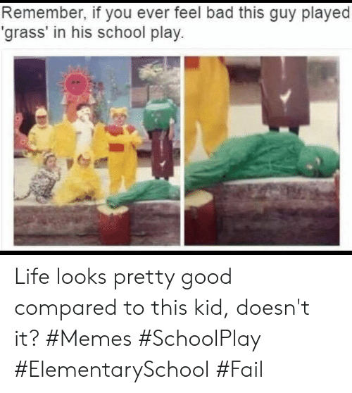 Bad, Fail, and Life: Remember, if you ever feel bad th is guy played  'grass' in his school play. Life looks pretty good compared to this kid, doesn't it? #Memes #SchoolPlay #ElementarySchool #Fail