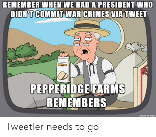war: REMEMBER WHEN WE HAD A PRESIDENT WHO  DIDN'T COMMIT WAR CRIMES VIA TWEET  PEPPERIDGE FARMS  REMEMBERS  made on imgur Tweetler needs to go