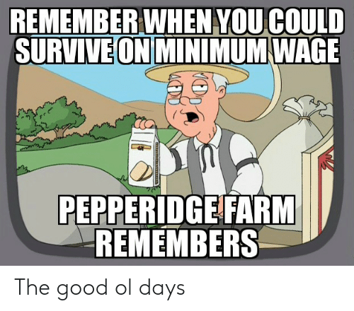 Good, Minimum Wage, and Remember: REMEMBER WHEN YOUCOULD  SURVIVE ON MINIMUM WAGE  PEPPERIDGE FARM  REMEMBERS The good ol days