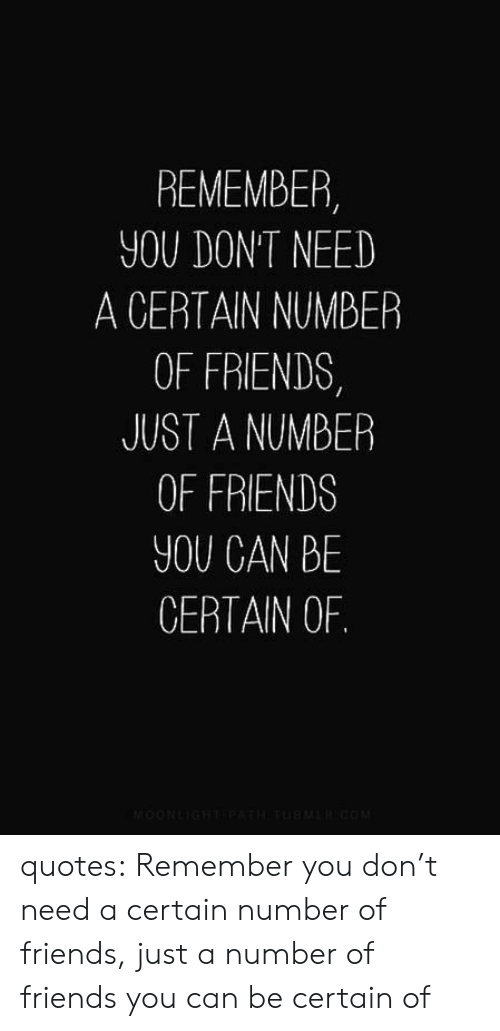 Friends, Tumblr, and Blog: REMEMBER,  YOU DONT NEED  A CERTAIN NUMBER  OF FRIENDS  JUST A NUMBER  OF FRIENDS  YOU CAN BE  CERTAIN OF. quotes: Remember you don't need a certain number of friends, just a number of friends you can be certain of