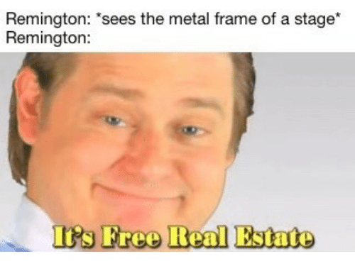 """iis: Remington: """"sees the metal frame of a stage  Remington  Ii's Freo Real Estate"""