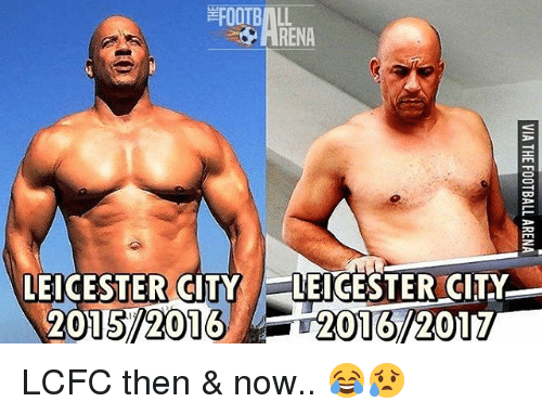 Leicester City: RENA  LEICESTER CITY LEICESTER CITY  2015 2016 LCFC then & now.. 😂😥