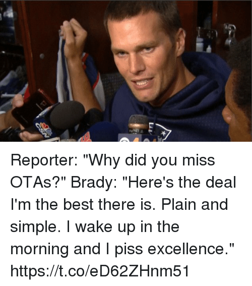 """Tom Brady, Best, and Brady: Reporter: """"Why did you miss OTAs?""""  Brady: """"Here's the deal I'm the best there is. Plain and simple. I wake up in the morning and I piss excellence."""" https://t.co/eD62ZHnm51"""