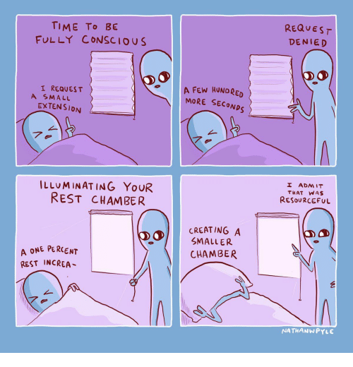 conscious: REQUEST  TIME To BE  FULLY CONSCIOUS  DENIED  A FEW HUNDRED  MORE SECONDS  I REQUES T  A SMALL  EXTENSION  7.  I ADMIT  ILLUMINATING YOUR  REST CHAMBER  THAT WAS  RESOURCEFUL  CREATING A  SMALLER  A ONE PERCENT  REST INCREA  CHAMBER  NATHANWPYLE