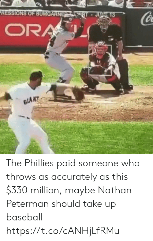Baseball, Philadelphia Phillies, and Sports: RESSIONS OF BUMGARNE The Phillies paid someone who throws as accurately as this $330 million, maybe Nathan Peterman should take up baseball https://t.co/cANHjLfRMu