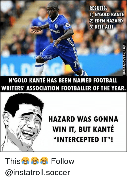 """Football, Memes, and Soccer: RESULTS:  1) N'GOL0 KANTE  2) EDEN HAZARD  3) DELE ALLI  MA  football  aLAD N GOLO KANTE HAS BEEN NAMED FOOTBALL  WRITERS ASSOCIATION FOOTBALLER OF THE YEAR.  3 HAZARD WAS GONNA  WIN IT, BUT KANTE  """"INTERCEPTED IT""""! This😂😂😂 Follow @instatroll.soccer"""