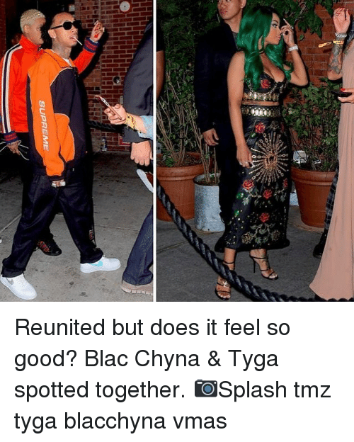 blac chyna: Reunited but does it feel so good? Blac Chyna & Tyga spotted together. 📷Splash tmz tyga blacchyna vmas