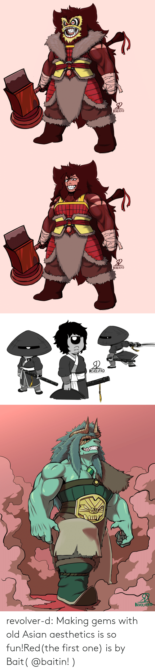 first: revolver-d:  Making gems with old Asian aesthetics is so fun!Red(the first one) is by Bait(@baitin! )