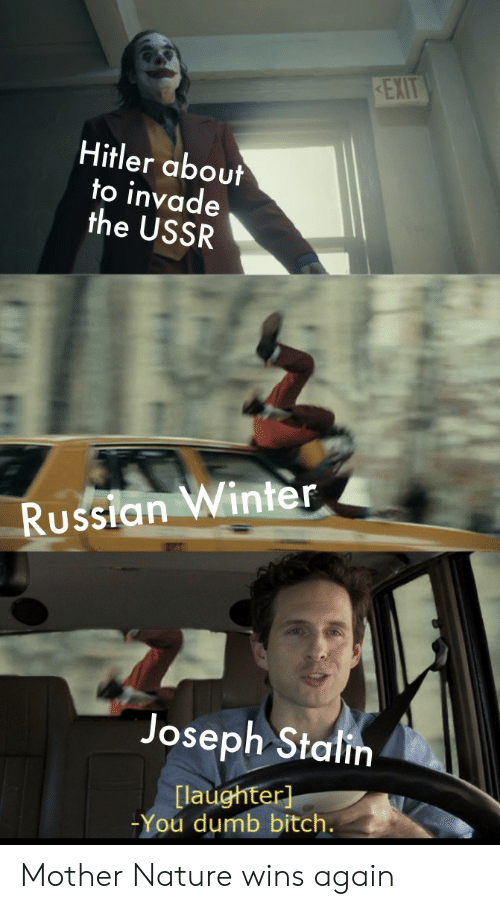 Bitch, Dumb, and Winter: REXIT  Hitler about  to invade  the USSR  Russian Winter  Joseph Stalin  [laughter]  -You dumb bitch. Mother Nature wins again