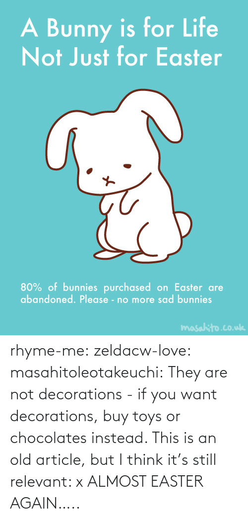 Easter, Love, and Tumblr: rhyme-me:  zeldacw-love:  masahitoleotakeuchi:  They are not decorations - if you want decorations, buy toys or chocolates instead.  This is an old article, but I think it's still relevant: x  ALMOST EASTER AGAIN…..