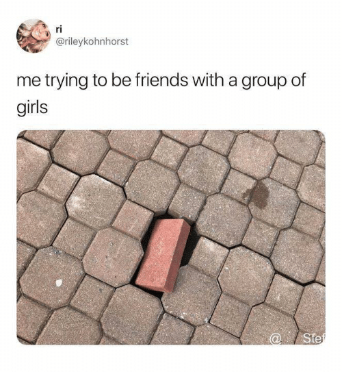 Friends, Girls, and Relationships: ri  @rileykohnhorst  me trying to be friends with a group of  girls