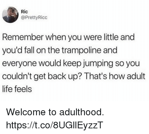 Adult Life: Ric  @PrettyRicc  Remember when you were little and  you'd fall on the trampoline and  everyone would keep jumping so you  couldn't get back up? That's how adult  life feels Welcome to adulthood. https://t.co/8UGllEyzzT