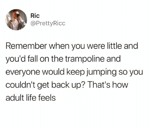 Adult Life: Ric  @PrettyRicc  Remember when you were little and  you'd fall on the trampoline and  everyone would keep jumping so you  couldn't get back up? That's how  adult life feels
