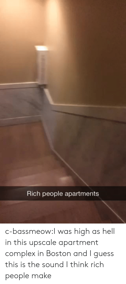 Rich People: Rich people apartments c-bassmeow:I was high as hell in this upscale apartment  complex in Boston and I guess this is the sound I think rich people make