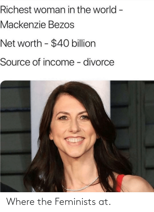 mackenzie: Richest woman in the world -  Mackenzie Bezos  Net worth - $40 billion  Source of income - divorce Where the Feminists at.