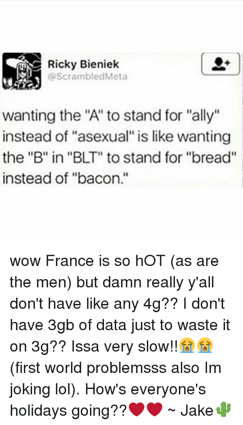 """Lol, Memes, and Wow: Ricky Bieniek  @ScrambledMeta  wanting the """"A"""" to stand for """"ally""""  instead of """"asexual"""" is like wanting  the """"B"""" in """"BLT"""" to stand for """"bread""""  instead of """"bacon."""" wow France is so hOT (as are the men) but damn really y'all don't have like any 4g?? I don't have 3gb of data just to waste it on 3g?? Issa very slow!!😭😭 (first world problemsss also Im joking lol). How's everyone's holidays going??❤❤ ~ Jake🌵"""