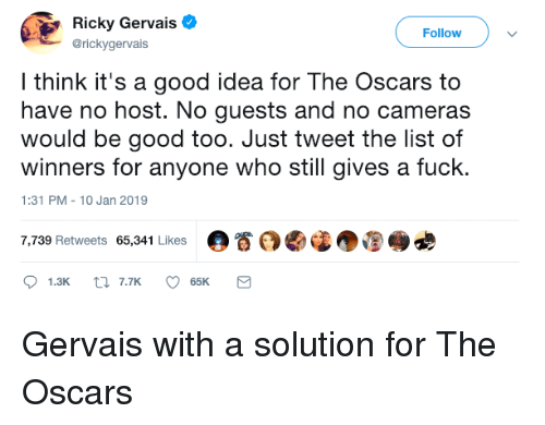 Oscars, Fuck, and Good: Ricky Gervais  @rickygervais  Followv  l think it's a good idea for The Oscars to  have no host. No guests and no cameras  would be good too. Just tweet the list of  winners for anyone who still gives a fuck.  1:31 PM-10 Jan 2019  7,739 Retweets 65,341 Likes  。眷 Gervais with a solution for The Oscars