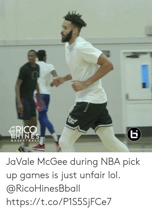 Basketball, Lol, and Memes: RICO  HINES  BASKETBALL  (r JaVale McGee during NBA pick up games is just unfair lol. @RicoHinesBball https://t.co/P1S5SjFCe7