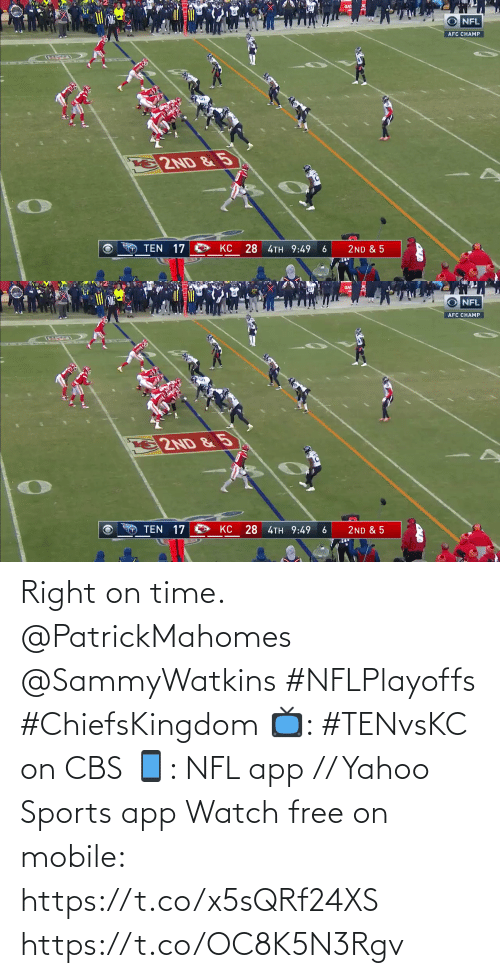 NFL: Right on time. @PatrickMahomes @SammyWatkins #NFLPlayoffs #ChiefsKingdom  📺: #TENvsKC on CBS 📱: NFL app // Yahoo Sports app Watch free on mobile: https://t.co/x5sQRf24XS https://t.co/OC8K5N3Rgv