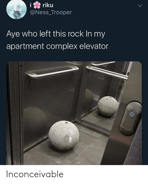 inconceivable: riku  @Ness_Trooper  Aye who left this rock In my  apartment complex elevator Inconceivable