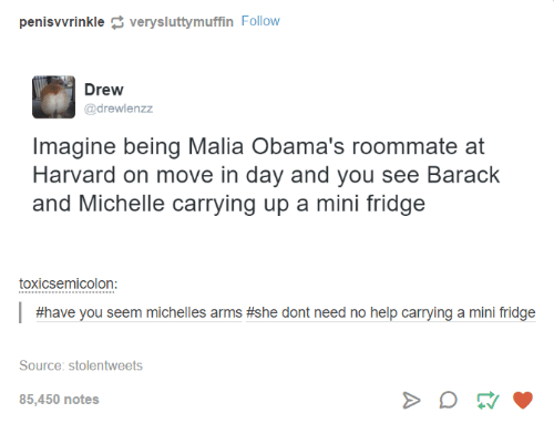Dank, Roommate, and Harvard: rinkle very sluttymuffin Follow  penis Drew  @drewlenzz  Imagine being Malia Obama's roommate at  Harvard on move in day and you see Barack  and Michelle carrying up a mini fridge  toxicsemicolon:  #have you seem michelles arms #she dont need no help carrying a mini fridge  Source: stolentweets  85,450 notes