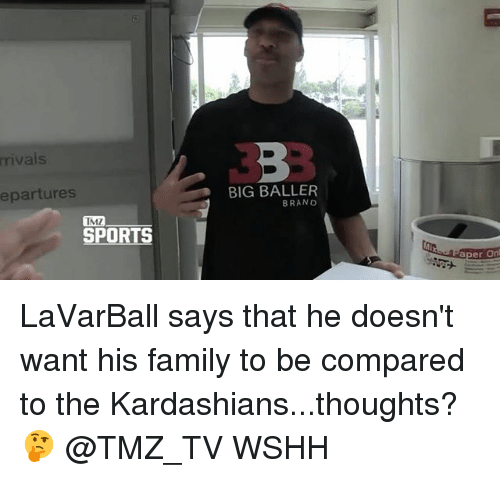 tmz sports: riva  epartures  BIG BALLER  BRANO  TMZ  SPORTS  aper On LaVarBall says that he doesn't want his family to be compared to the Kardashians...thoughts? 🤔 @TMZ_TV WSHH