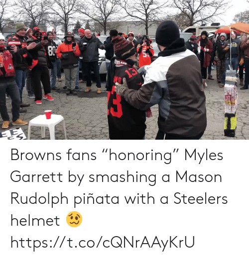 "Steelers: rivvIAND  13 Browns fans ""honoring"" Myles Garrett by smashing a Mason Rudolph piñata with a Steelers helmet 🥴 https://t.co/cQNrAAyKrU"