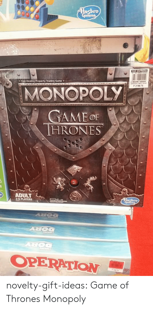 Game of Thrones, Monopoly, and Tumblr: ro  Fast-Dealing Property Trading Game*  P 2198 75  MONOPOLY  HRⓛNES  ME  ADULT  PLAYERS  ro  OPERATION- novelty-gift-ideas:  Game of Thrones Monopoly