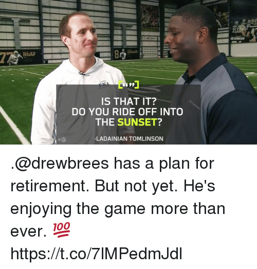 Memes, The Game, and Game: ROAF  MALONG  099  IS THAT IT?  DO YOU RIDE OFF INTO  THE SUNSET?  -LADAINIAN TOMLINSON .@drewbrees has a plan for retirement.  But not yet. He's enjoying the game more than ever. 💯 https://t.co/7lMPedmJdl