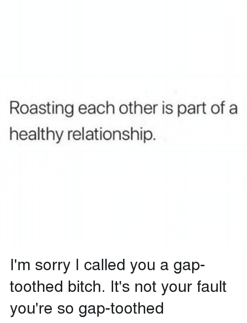 Its Not Your Fault: Roasting each other is part of a  healthy relationship. I'm sorry I called you a gap-toothed bitch. It's not your fault you're so gap-toothed