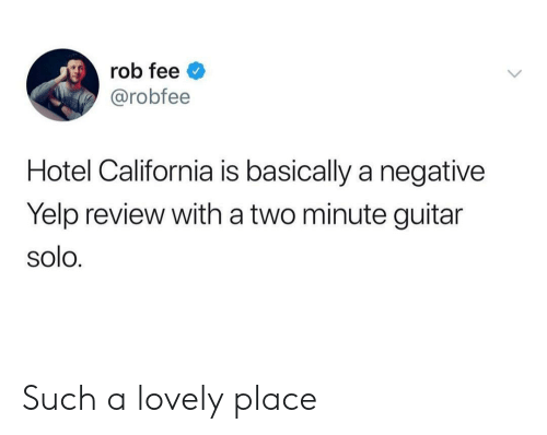 California, Guitar, and Hotel: rob fee  @robfee  Hotel California is basically a negative  Yelp review with a two minute guitar  solo. Such a lovely place