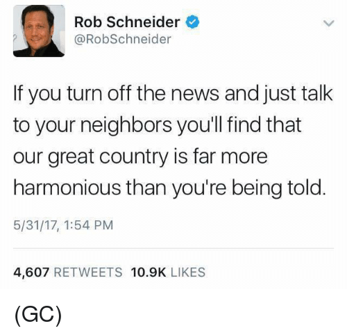 turn offs: Rob Schneider  @RobSchneider  If you turn off the news and just talk  to your neighbors you'll find that  our great country is far more  harmonious than you're being told  5/31/17, 1:54 PM  4,607 RETWEETS 10.9K LIKES (GC)