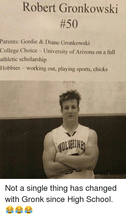 Gronkowski: Robert Gronkowski  #50  Parents: Gordie & Diane Gronkowski  College Choice - University of Arizona on a full  athletic scholarship  Hobbies - working out, playing sports, chicks Not a single thing has changed with Gronk since High School. 😂😂😂