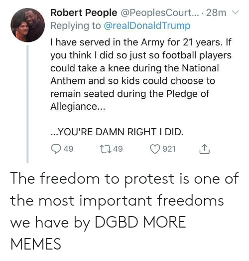 Take A Knee: Robert People @PeoplesCourt... 28m  Replying to @realDonaldTrump  I have served in the Army for 21 years. If  you think I did so just so football players  could take a knee during the National  Anthem and so kids could choose to  remain seated during the Pledge of  Allegiance...  ..YOU'RE DAMN RIGHT I DID.  L2.49  921  49 The freedom to protest is one of the most important freedoms we have by DGBD MORE MEMES