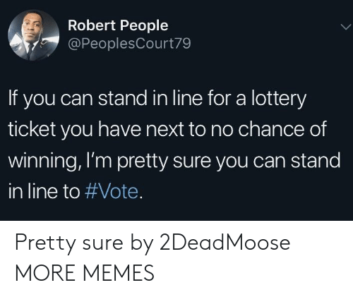 Dank, Lottery, and Memes: Robert People  @PeoplesCourt79  If you can stand in line for a lottery  ticket you have next to no chance of  winning, I'm pretty sure you can stand  in line to Pretty sure by 2DeadMoose MORE MEMES