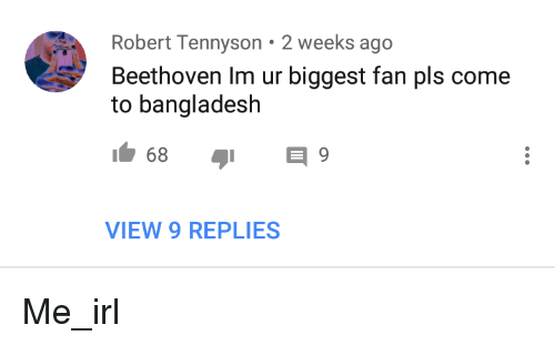 Beethoven, Irl, and Me IRL: Robert Tennyson 2 weeks ago  Beethoven Im ur biggest fan pls come  to bangladesh  VIEW 9 REPLIES Me_irl