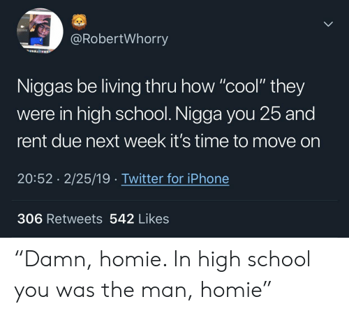 "Homie, Iphone, and School: @RobertWhorry  Niggas be living thru how ""cool"" they  were in high school. Nigga you 25 and  rent due next week it's time to move on  20:52 2/25/19 Twitter for iPhone  306 Retweets 542 Likes ""Damn, homie. In high school you was the man, homie"""